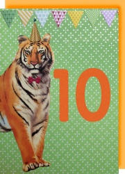 Collage Queen 10 Year Birthday Card - Tiger