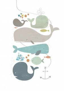 Paper Moon Happy Whales Print (A4)