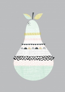 Paper Moon Patterned Pear Print (A4)