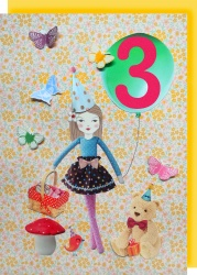 Collage Queen 3 Year Birthday Card - Dolly