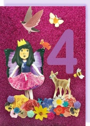 Collage Queen 4 Year Birthday Card - Fairy