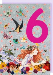Collage Queen 6 Year Birthday Card - Girl