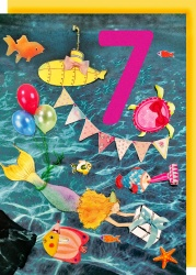 Collage Queen 7 Year Birthday Card - Mermaid