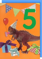 Collage Queen 5 Year Birthday Card - Dinosaur