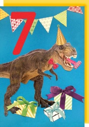 Collage Queen 7 Year Birthday Card - Dinosaur