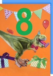 Collage Queen 8 Year Birthday Card - Dinosaur