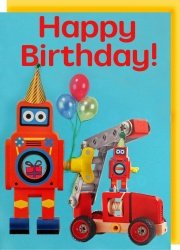 Collage Queen Robot Birthday Card
