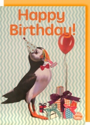 Collage Queen Puffin Birthday Card