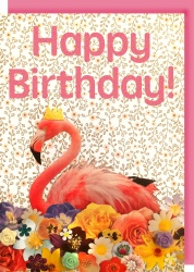 Collage Queen Flamingo Birthday Card