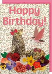 Collage Queen Leopards Birthday Card