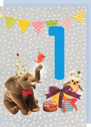 Collage Queen 1 Year Birthday Card - Blue Elephant