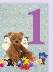 Collage Queen 1 Year Butterfly Bear Card