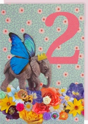 Collage Queen 2 Years Butterfly Elephant Card