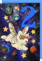 Collage Queen 2 Years Space Tiger Card