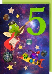 Collage Queen 5 Years Space Monster Card