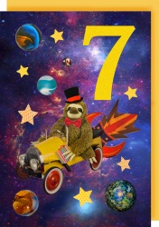 Collage Queen 7 Years Space Sloth Card