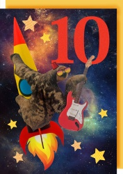 Collage Queen 10 Years Space Guitar Card