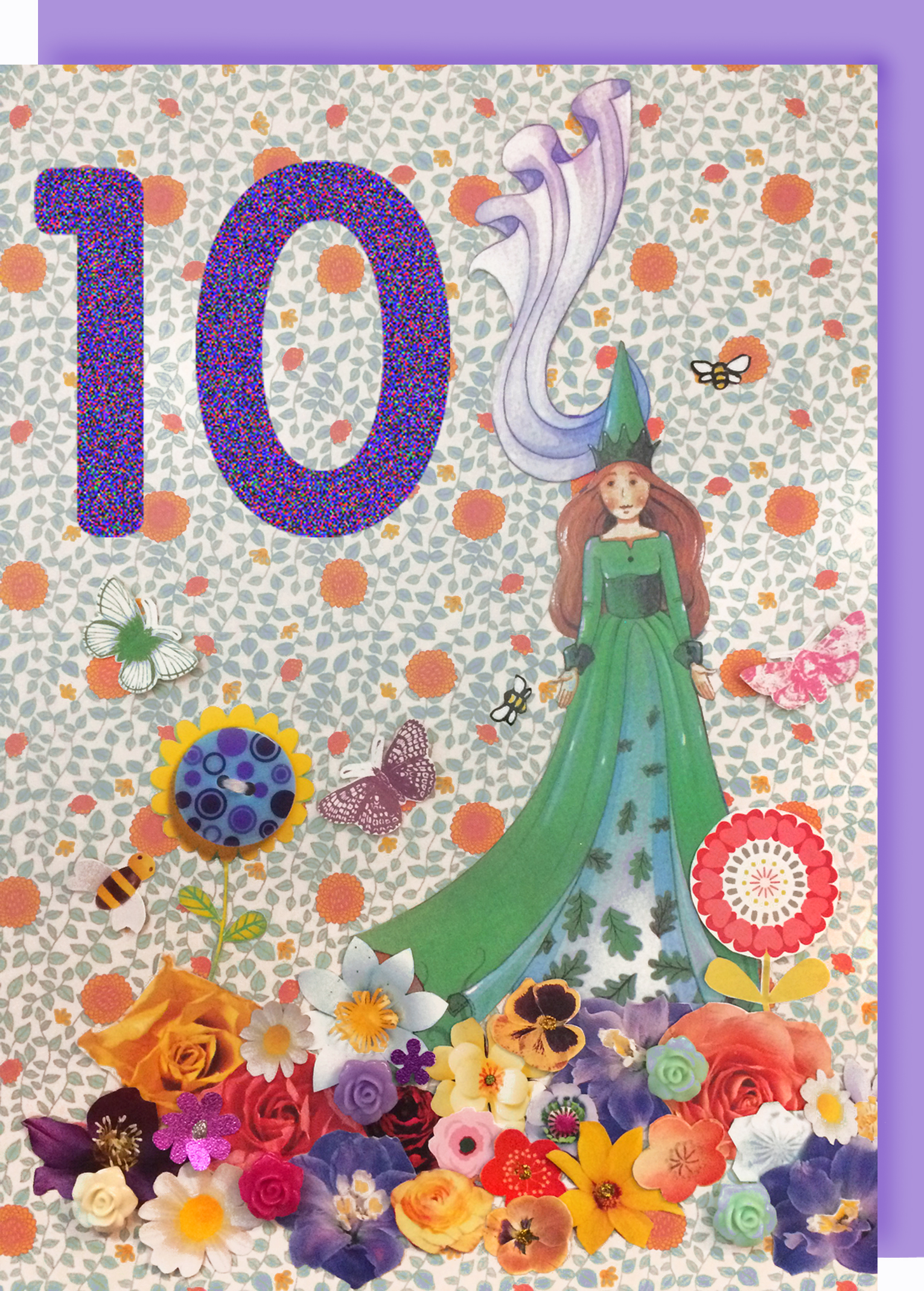 Collage Queen 10 Year Birthday Card