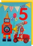 Collage Queen 5 Year Birthday Card - Robot
