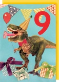 Collage Queen 9 Year Birthday Card - Dinosaur