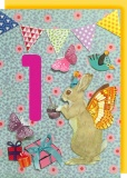 Collage Queen 1 Year Birthday Card - Rabbit