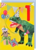 Collage Queen 1 Year Birthday Card - Dinosaur