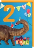 Collage Queen 2 Year Birthday Card - Dinosaur