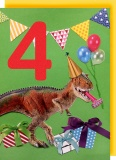 Collage Queen 4 Year Birthday Card - Dinosaur