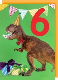 Collage Queen 6 Year Birthday Card - Dinosaur