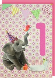 Collage Queen 1 Year Birthday Card - Pink Elephant