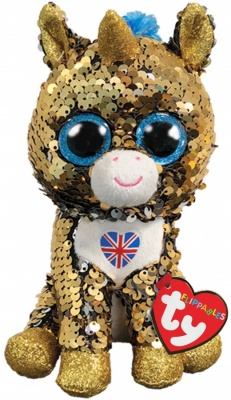 Ty  Flippables Noble Unicorn With Union Jack Beanie Boo
